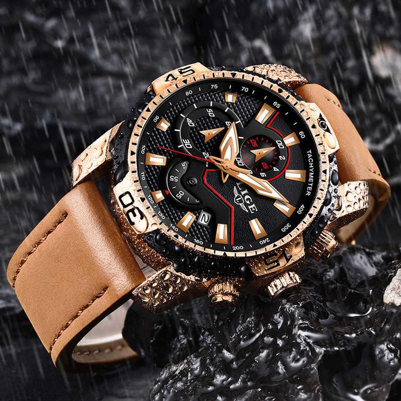 2019 นาฬิกาผู้ชาย LIGE แบรนด์แฟชั่นกีฬานาฬิกาควอตซ์นาฬิกา Mens หนังกันน้ำ Chronograph นาฬิกานาฬิกาธุรกิจ Relogio Masculino + กล่อง