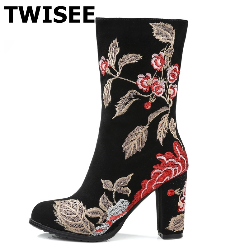 TWISEE Round Toe winter shoes Embroider sexy thick heel brand women ankle boots causal warm high heel Cow Suede leather boots sfzb new square toe lace up genuine leather solid nude women ankle boots thick heel brand women shoes causal motorcycles boot