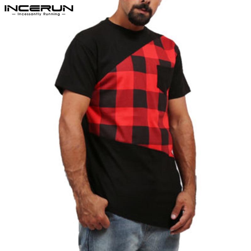 2018 New Summer Men Short Sleeve T-Shirt Pathcwork Irregular Hem Side Zipper Tee Tops Slim Fit Male Shirt Hip Hop Clothing