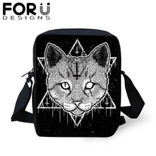 FORUDESIGNS Gothic Black Cat Messenger Bag For Woman Kids Small Casual Crossbody Bags Handbag Boy Girls Travel Shoulder Tote