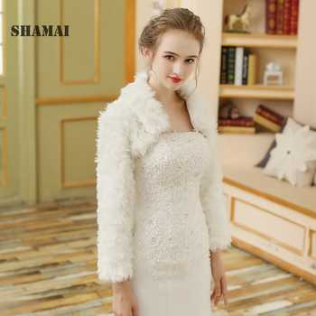 SHAMAI 2018 Faux Fur Shawl Wedding Wrap White Long Sleeve Wedding Jacket Cheongsam Winter Elegant Wedding Jacket Wraps - DISCOUNT ITEM  30% OFF Weddings & Events