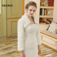SHAMAI 2018 Faux Fur Shawl Wedding Wrap White Long Sleeve Wedding Jacket Cheongsam Winter Elegant Wedding Jacket Wraps