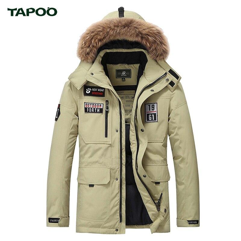 Men's White Duck Down Jacket With Fur Hood  Mens Brand Fashion Winter Jacket Coat Casual Warm Jacket Men down parka