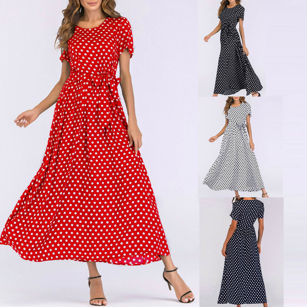 HTB1ErmTawKG3KVjSZFLq6yMvXXaq - Summer Dress Women O-Neck Short Sleeve Boho Polka Dot Bandage Maxi Long Dress Women Beach Sundress Plus Size Vestidos