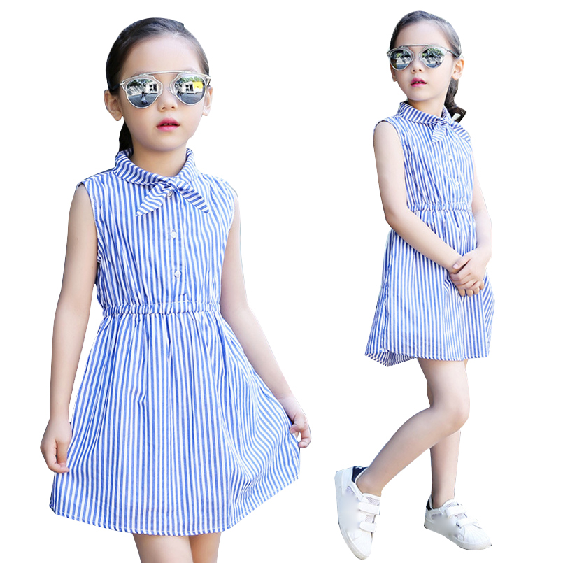Kids Dresses For Girls Clothes Sleeveless Striped Girls Dresses Summer Shirt Dresses 4 6 8 10 12 14 Years Teenage Girls Blouses