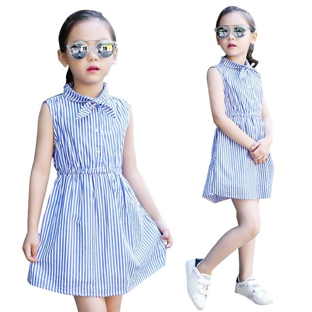 42fe6c7d7 Kids Dresses For Girls Clothes Sleeveless Striped Girls Dresses Summer  Shirt Dresses 4 6 8 10 12 14 Years Teenage Girls Blouses
