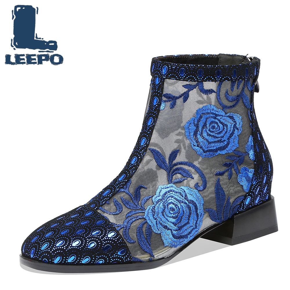 LEEPO Ankle Boots for Women Handmade Luxury Designers Summer Perforated Lace Up Embroider Net Boots Woman