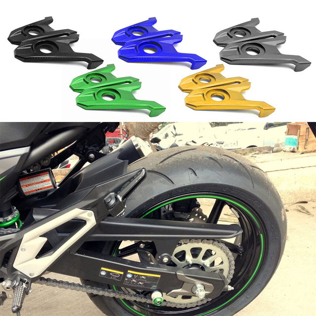 For Kawasaki Z800 Z 800 2013 2014 2015 2016 Rear Fork Axle Chain Adjuster Blocks Spindles CNC Aluminum Tensioners Catenary