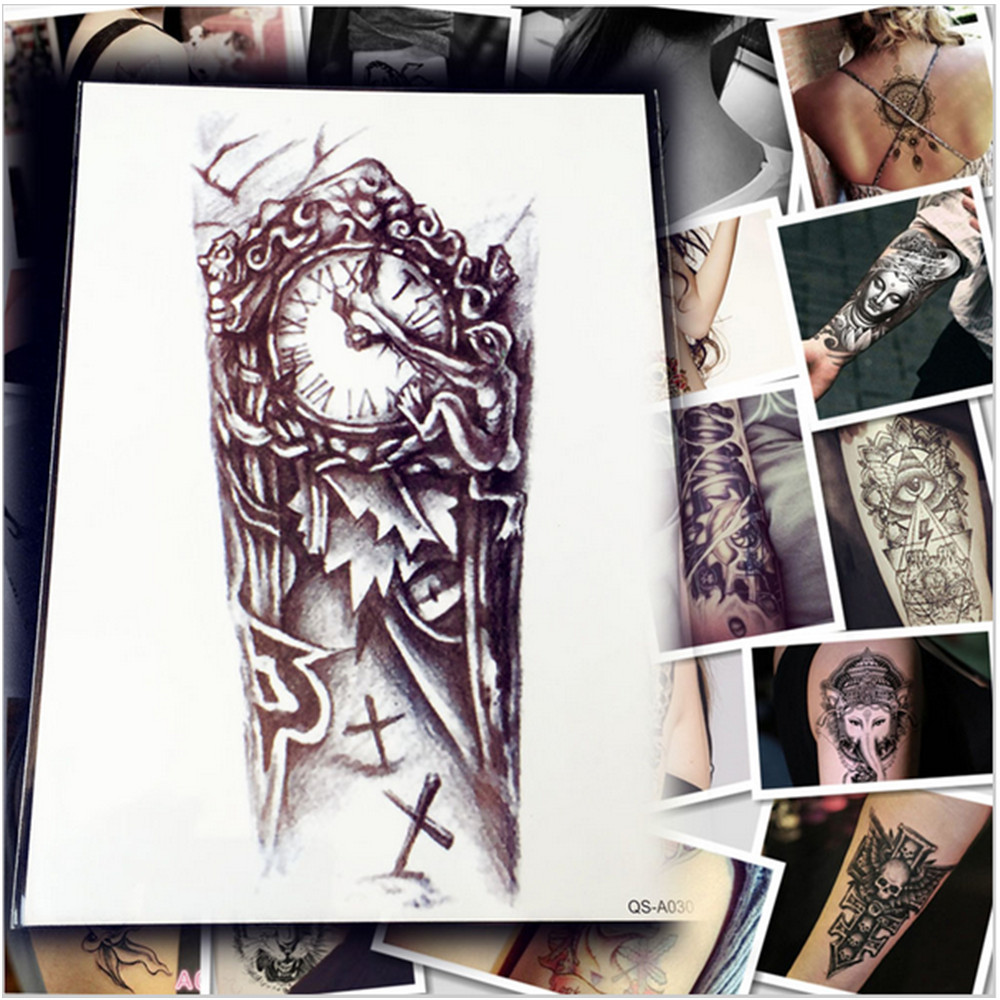 5 Sheets 1 Lot Makeup Old Clock Temporary Tattoo Stickers Cross / Large Punk For Body Arm Sleeve Adhesive Fake Henna Tattoo strength training