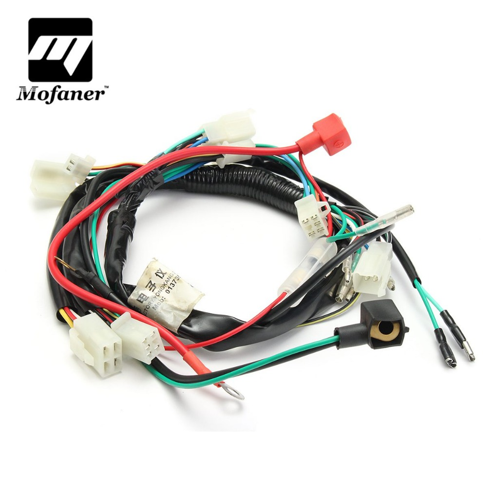 small resolution of motorcycle wiring harness machine electric start wiring loom harness pit bike atv quads 50cc 70cc 90cc