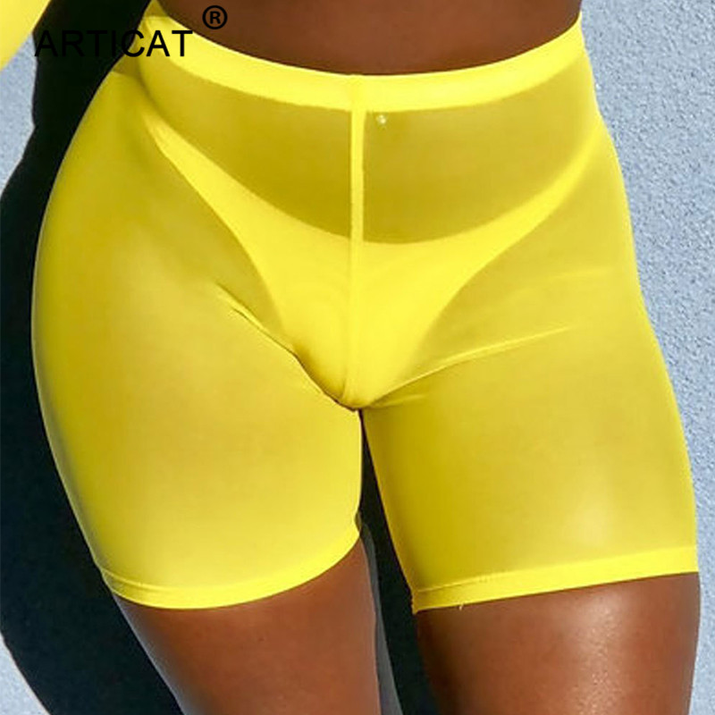 Articat Yellow Sexy Sheer Mesh   Shorts   Women High Waist Transaparent Summer Beach Casual   Shorts   Fitness Bodycon   Short   Sweatpants