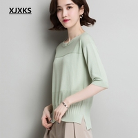 XJXKS Short Sweters Women New 2019 Pullover Drop shoulder Sweater Jumper Spring Summer Solid Knitted Sweaters Women Top