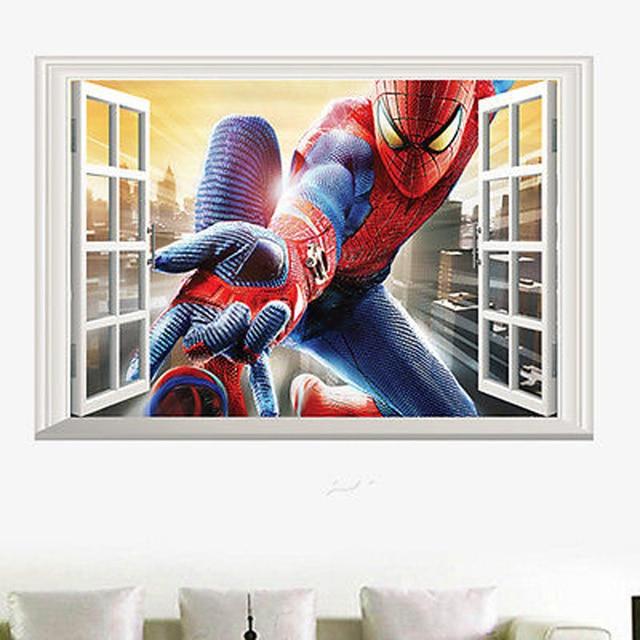 Amazing Spiderman Wall Stickers Vinyl Art Decal Boys Kids Bedroom Wallpaper Kerst Raamstickers