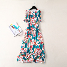 Women's spring half sleeves ruffles dress Fashion runways elegant floral print dress A076 black random floral print half flared sleeves mini dress