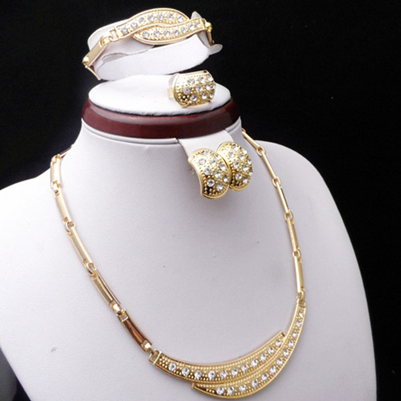 Elegant Bridal Set Heavy Gold Plated Diamante Crystal: Good Quality Gold Color Diamante Crystals Jewelry Sets For