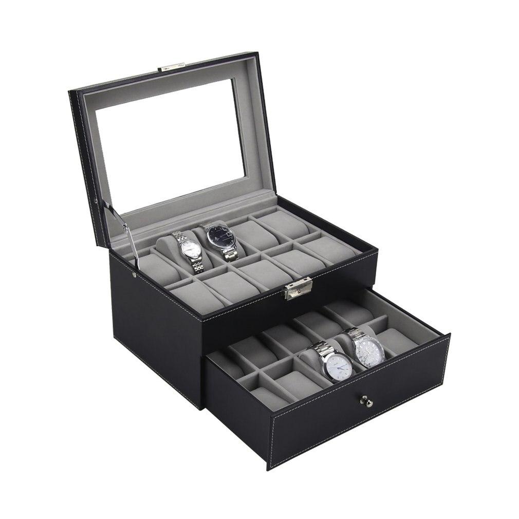 PU En Cuir Double Couches 20 Grilles Slots Montre Boîte Montres Container Organisateur Box Bijoux De Cas De Stockage D'affichage