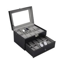 PU Leather Double Layers 20 Grids Slots Watch Box Watches Container Organizer Box Jewelry Display Storage Case(China)