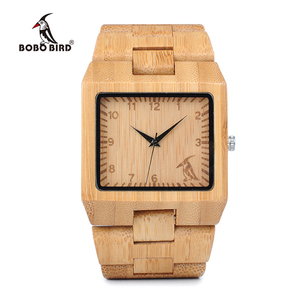 Image 4 - BOBO BIRD Timepieces Bamboo Wooden Men Watches Top Luxury Brand Rectangle Design Wood Band Watch for men
