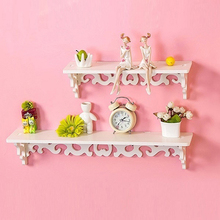 Carved Wall Shelf Holder Hollow Design Storage Rack Wall Shelf Home Room Decor