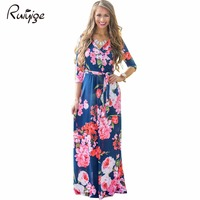 2017 Summer Dress Sexy Deep V Neck Beach Casual Tunic Femme Vestidos Half Sleeve Boho Floral