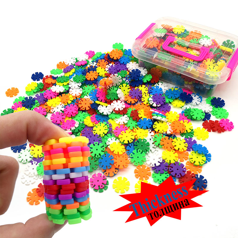 425PCS Thickness More Secure Snowflake Building Blocks Gift For Kids  With BOX And Instruction Book
