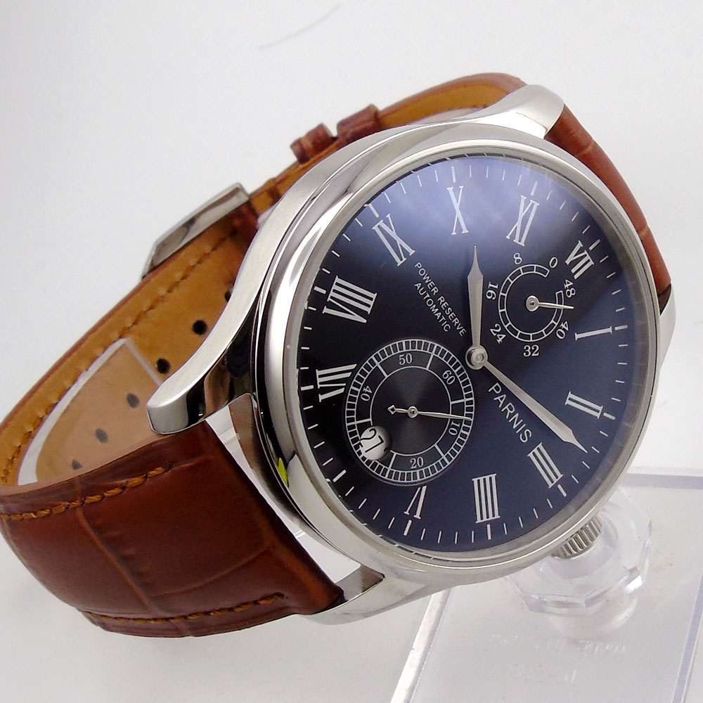 43mm parnis Black Dial Brown Leather strap Date Window Roman Numerals silver hands Automatic Movement men's Watch roman numerals dial artificial leather watch