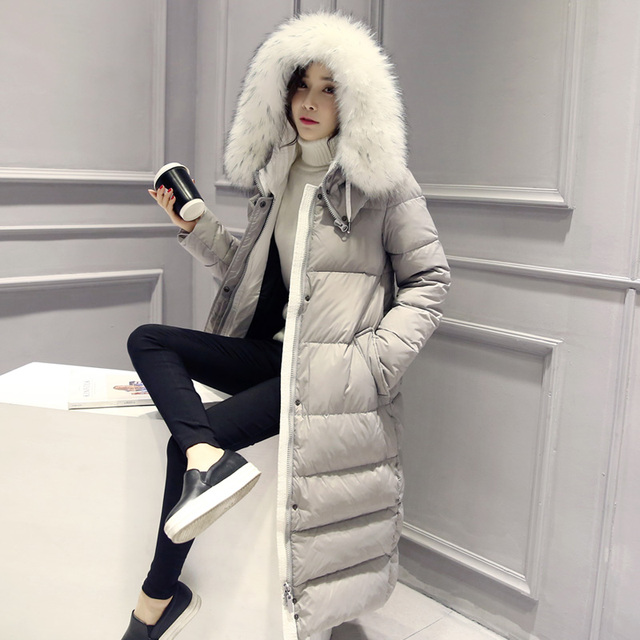 0ccca709063 2018 Winter Jacket Fashion Women Long Cotton-padded Coat Parka Mujer Ladies  Warm Outerwear Fur Collar Hooded Coats D206