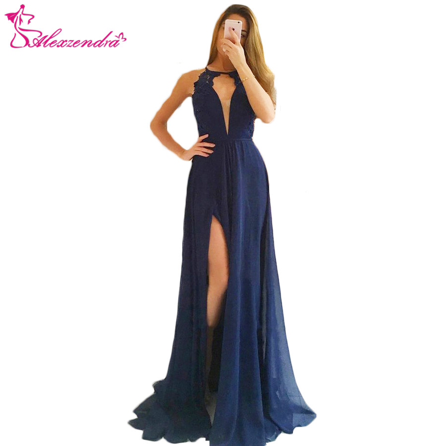 Alexzendra bleu marine en mousseline de soie Sexy bal robes de grande taille dentelle longue formelle robes de soirée robe de soirée personnaliser