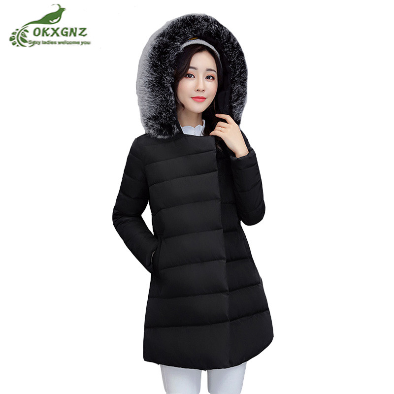 New winter font b Down b font cotton Outerwear female medium long Fur collar large jacket