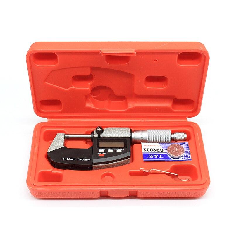 Haute précision 0.001mm batterie CR2032 électronique diamètre extérieur micromètre 0-25mm avec LCD numérique micromètre numérique étrier