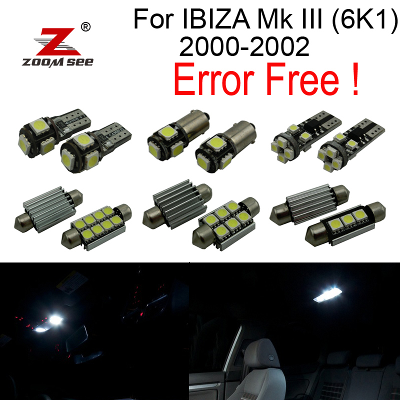 13pcs LED Parking city bulb + Reverse lamp + side marker + Interior dome Lights for Seat for IBIZA Mk III (6K1) 2000-2002 27pcs led interior dome lamp full kit parking city bulb for mercedes benz cls w219 c219 cls280 cls300 cls350 cls550 cls55amg