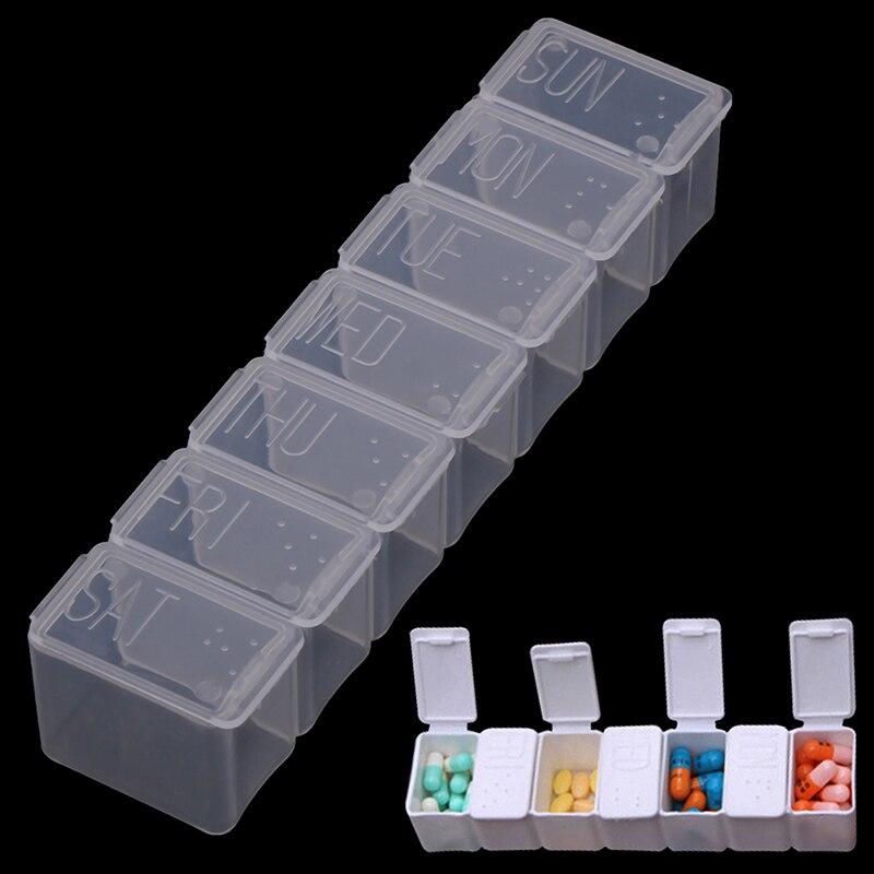7 Days Pill Case Medicine Storage Tablet Pill Box 7 Solt Medicine Organizer Pill Case Splitters Storage Dispenser Weekly