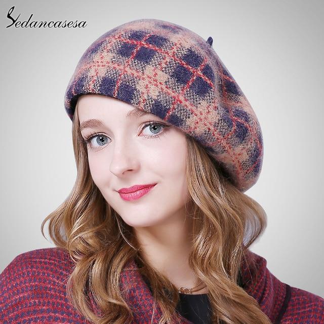Sedancasesa 2018 boinas Venta caliente sombrero pintor mujer primavera  caliente lana gorro boina de piel de 3614bdbe552