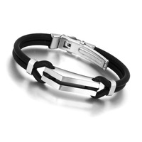 SUPIN Fashion High Quality Titanium Stainless Steel Silicone Rope Hand Chain Men Jewelry Bracelets & Bangle Charm Bracelet Homme