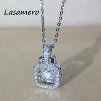 LASAMERO 0.13 CTW High Quality Created Emerald Pendant Set 18k Gold Natural Diamond Pendant Necklace