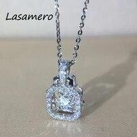 Lasamero 0.13 CTW Высокое качество создан Изумрудный кулон набор 18 К золото природных алмазов подвеска Цепочки и ожерелья