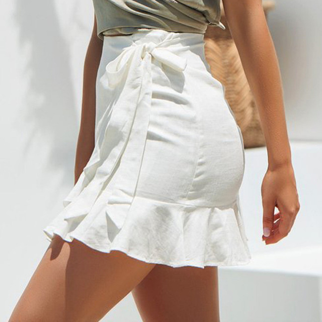 Solid Bandage Boho Mini Skirt