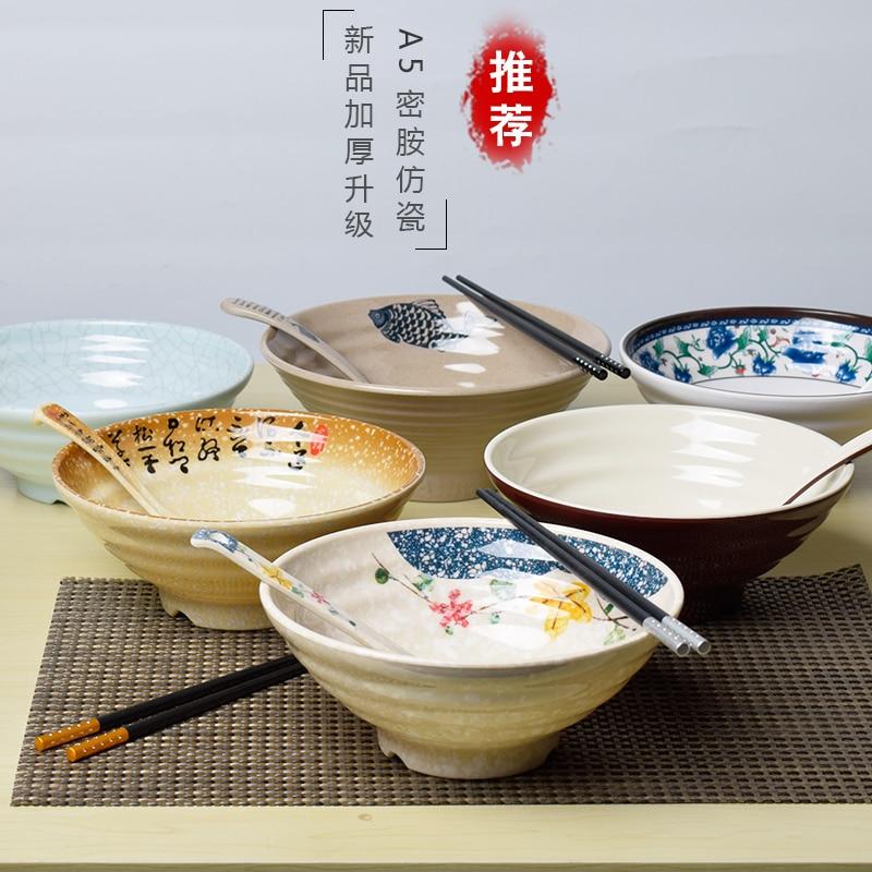 Японская лапша ламиан рамен суповая чаша щупы ложка костюм пластиковый Меламин Набор посуды пряный горячий горшок столовая посуда 2 компле