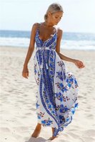2017 Hot Sale Printing Dress Strapless Sexy Backless Long Dress Wrapped Chest Backless Holiday Maxi Dress