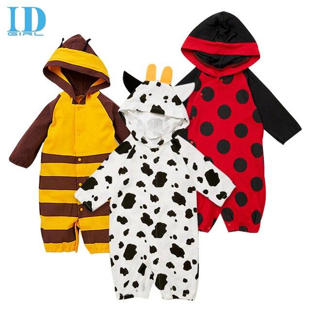 bafe27374 IDGIRL Newborn Baby Boy Girl Clothing Long Sleeve Cartoon Printed Jumpsuit Baby  Romper Bee Style Hooded Clothes JY0311