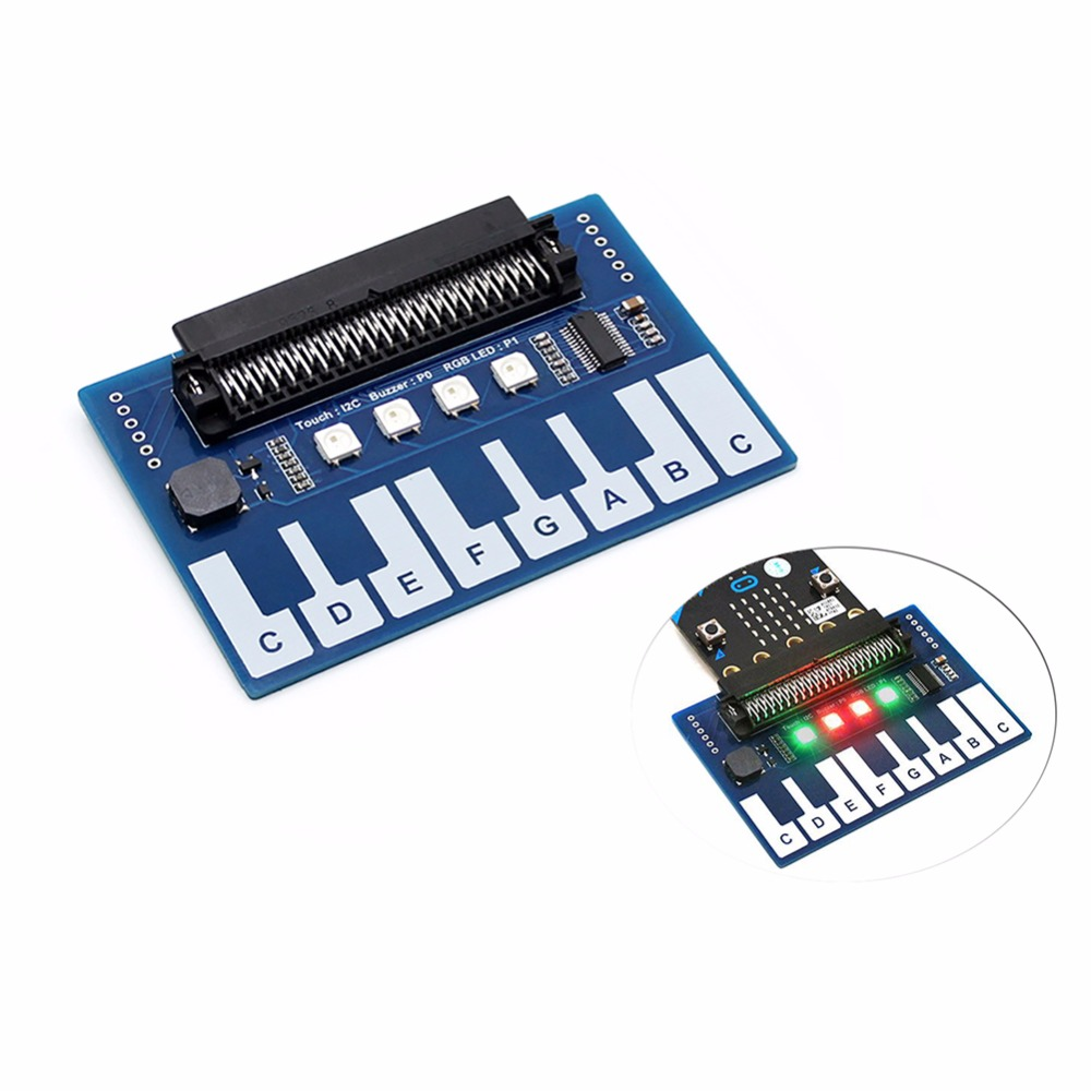 3.3V Mini Piano Module For BCC Micro:bit Microbit Touch Keys To Play Music, Capacitive Touch Controller TTP229, With 4x RGB LEDs