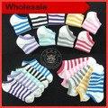 20 PCS = 10 pairs 2016 nova meias barco das Mulheres multicolour rainbow stripe meias de barco, invisible socks barco, coloridas meias de barco,