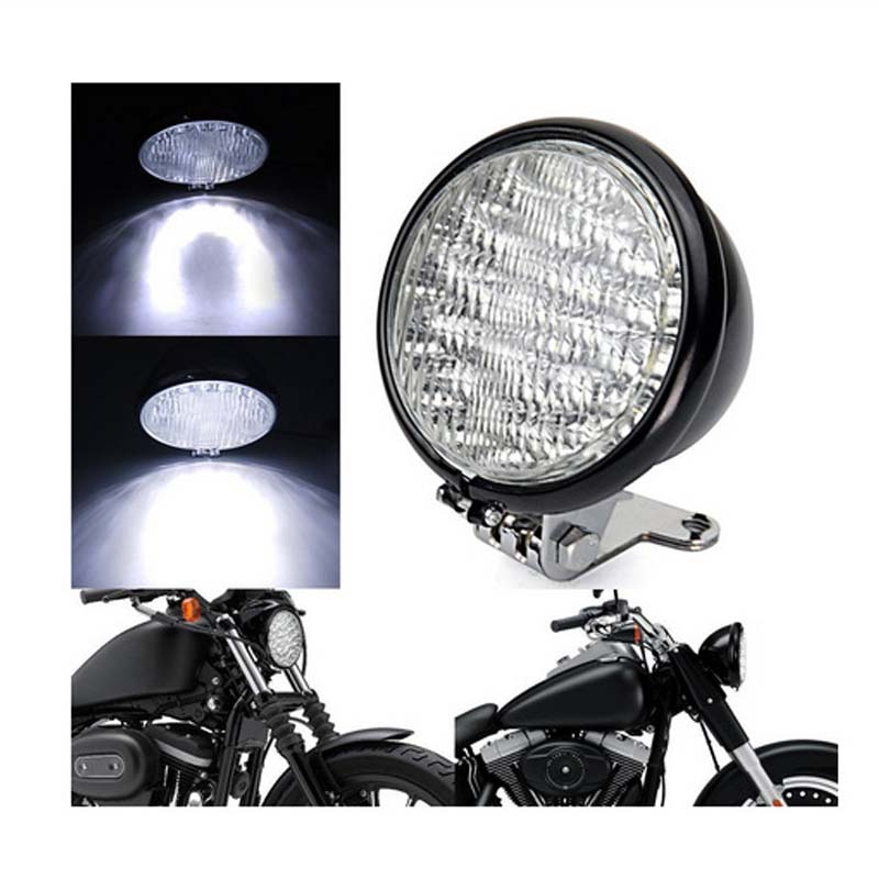 retro 5 motorcycle headlight amber front lamp phare moto rond noir for honda touring harley. Black Bedroom Furniture Sets. Home Design Ideas