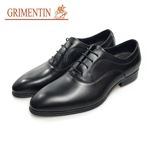 Grimentin Fashion Black Wedding Shoes Mens High Quality Leather Male Lace Up