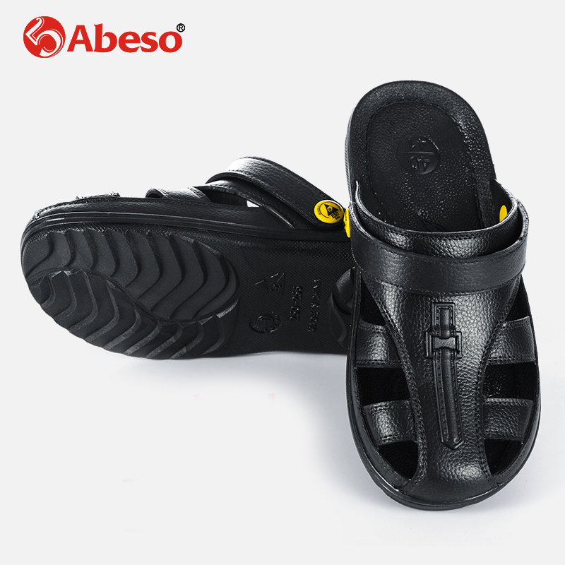 Abeso Antistatic Slipper Safety Shoes Slip-on Breathable Massage SPU Six-Hole Shoes With Thickened Soles For Men Women A8625