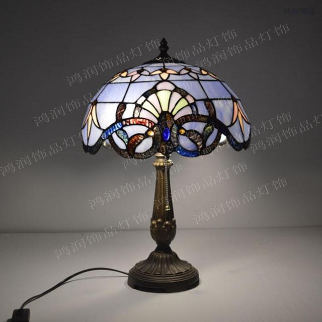 12 Inch Tiffany Table Lamp Stained Glass European Baroque Classic Living  Room Luminaria De Mesa E27