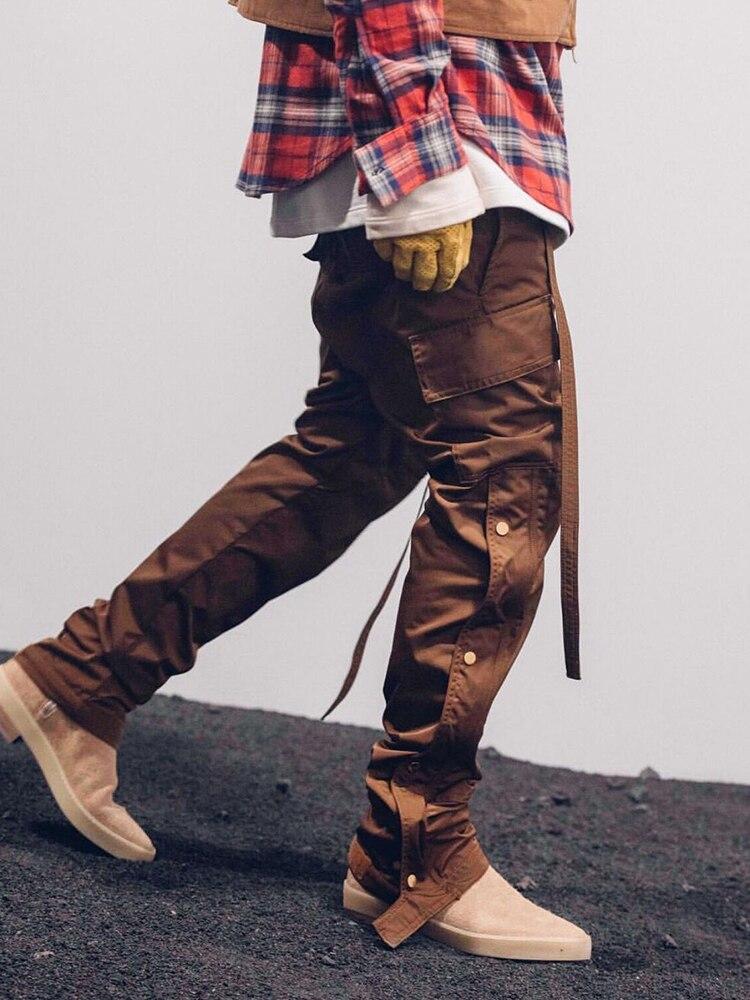 Темно-икона сплошной цвет Боковая кнопка прямые брюки мужские 2019 новые высокие уличные мужские брюки эластичный шнурок талии мужские брюки