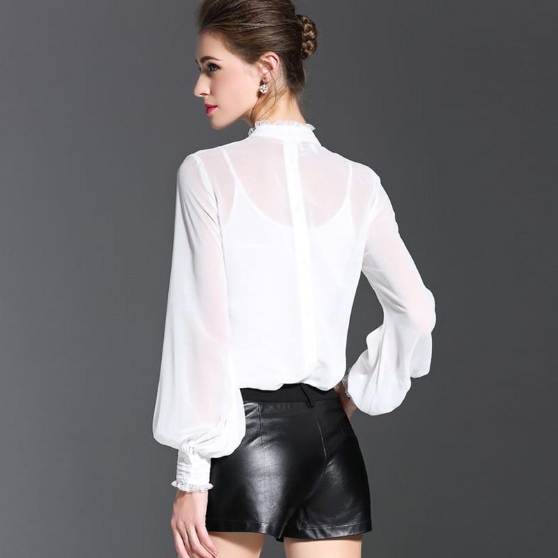 MissFoFo 2017 nouvelle mode printemps chemise régulière femmes chemise blouse décontractée o-cou bouton bureau complet dame noir blanc taille S-XXL - 4