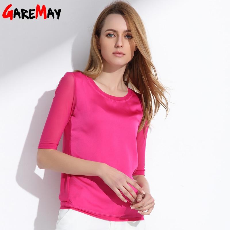 Kadın bluzlar 2020 yaz ipek şifon kadınlar için tops Zarif - Bayan Giyimi - Fotoğraf 4