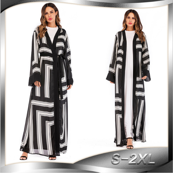 Muslim Abaya UAE Maxi Dress Striped Cardigan Tunic Long Robe Gowns Jubah Kimono Ramadan Arab Islamic Turkish Worship Service